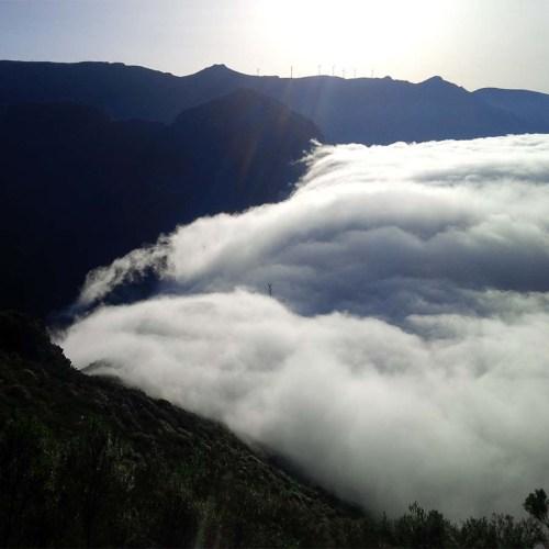 Wandern über der Wolkengrenze auf Madeira.